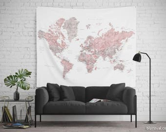 Pink map tapestry etsy personalized world map tapestry dusty pink and gray detailed world map world map travels bohemian world map wall hanging map141 084 gumiabroncs Images