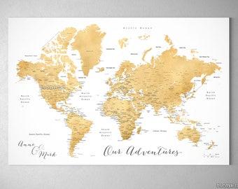 Gold Foil World Map Framed.Gold Foil World Map Etsy