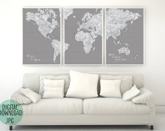 Grayscale world map etsy custom quote highly detailed world map printable with cities large world map 3 panels map grayscale world map chalkboard map151 036 gumiabroncs Image collections