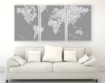 Grayscale world map etsy personalized couple names map custom quote highly detailed world map poster split in 3 panels map with cities grayscale map map151 036 gumiabroncs Gallery