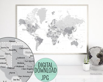 Grayscale world map etsy highly detailed map 60x40 printable world map with cities capitals grayscale map poster gift for him travel lover gift map149 014 gumiabroncs Image collections