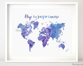 World map in spanish etsy printable world map purple watercolor map spanish quote quote in spanish elige tu propio camino inspirational quote map map053 009 gumiabroncs Choice Image