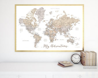 World map pin board etsy world map my adventures 36x24 printable map large printable map map for diy travel push pin board watercolor world map map141 128 gumiabroncs Choice Image