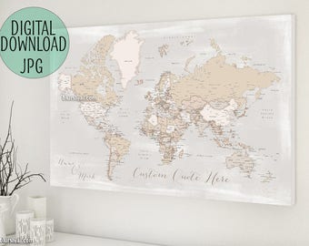 Personalized Gift For Boyfriend Husband World Map Push Pin PRINTABLE With Cities Custom Rustic
