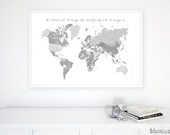 Grayscale world map etsy boyfriend gift 36x24 printable world map with countries and names grayscale world map black white diy travel pinboard map 138 009 gumiabroncs Image collections