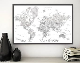Light grey world map etsy valentines gift for boyfriend personalized world map print couples personalized gift marble world map light grey marble map map191 003 gumiabroncs Image collections