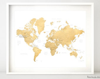 Printable world map with countries us states canadian 20x16 printable world map with countries states provinces labelled faux gold foil map gold wall art gold map gold decor map140 050 gumiabroncs