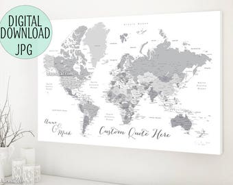 Grayscale world map etsy printable world map grayscale world map canvas print custom personalized canvas travel pinboard gray world map with cities map141 047 gumiabroncs Image collections