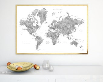 World map canvas push pin etsy printable world map for making a diy push pin map pin your travels diy gift idea map with cities capitals gray watercolor world map gumiabroncs Image collections
