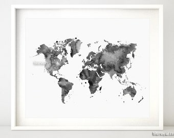 Grayscale world map etsy printable world map black watercolor map grayscale map black and white 10x8 map gift for him dorm decor travel lover art map053 011 gumiabroncs Gallery