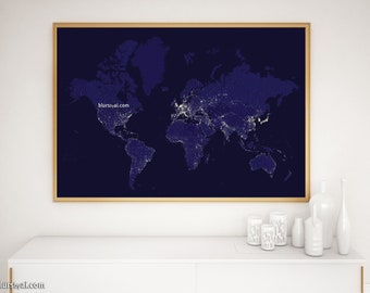 Night world map etsy the world map at night 36x24 printable earth at night navy blue world map night lights world map teen decor navy blue map map193 02 gumiabroncs Image collections