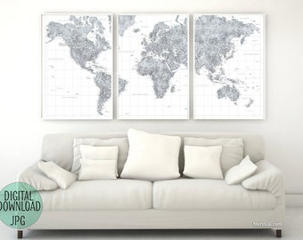 Grayscale world map etsy large detailed grayscale 3 paneled world map digital download the original map from blursbyai gumiabroncs Gallery