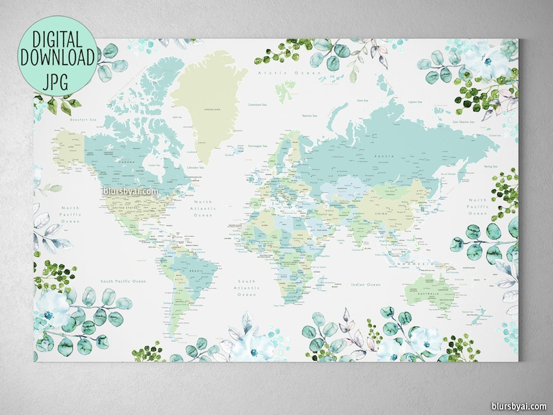Printable Large World Map.36x24 Floral World Map Printable Large World Map Etsy
