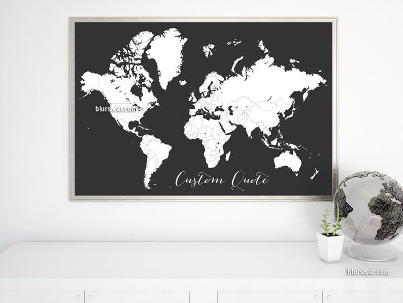 Custom quote - PRINTABLE world map  Color me in large world map, adult  coloring page, blank world map colour your travels  map140 078