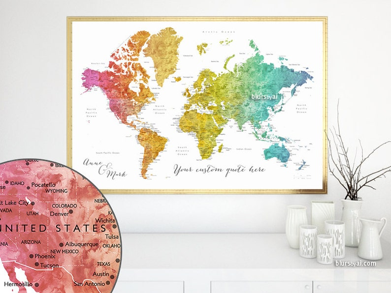 Custom quote - PRINTABLE world map with cities, rainbow watercolor world  map art, custom nursery map. Colorful gradient Map141 099