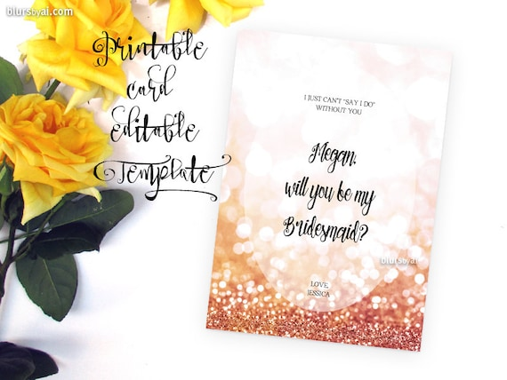 printable template will you be my bridesmaid card in rose etsy