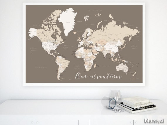 Custom quote color size printable world map custom world etsy image 0 gumiabroncs Gallery