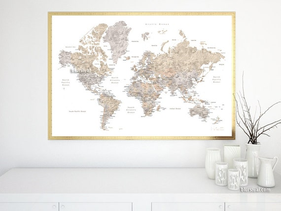 World map wall art, detailed world map, printable world map ...