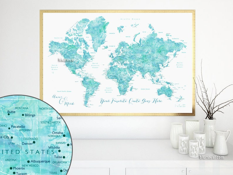 Custom quote - PRINTABLE world map with cities, countries, capitals, US  states, watercolor world map in aqua. Premade color map Map141 036