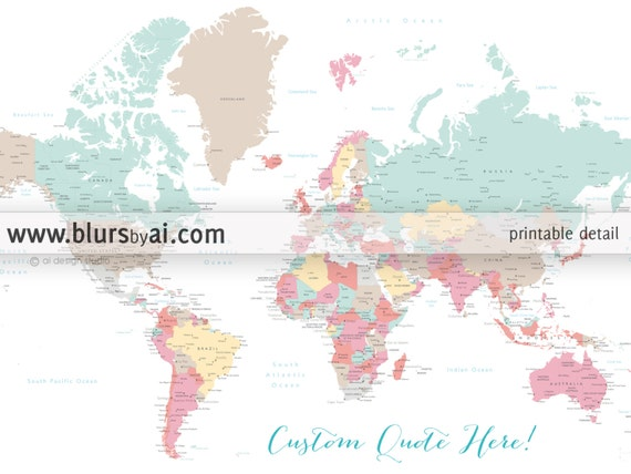 Custom quote - PRINTABLE world map with cities, capitals, countries, US  states... Pastel colors nursery map. Premade color map - Map141 007