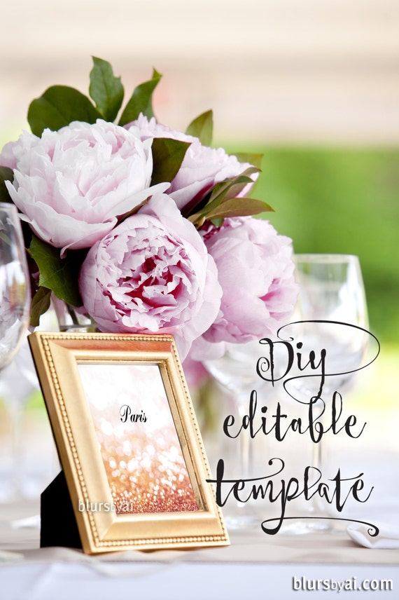 4x6 printable table numbers template pink gold wedding rose