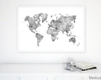 Gray world map etsy printable men gift 36x24 watercolor world map printable grayscale map gray world gumiabroncs Gallery
