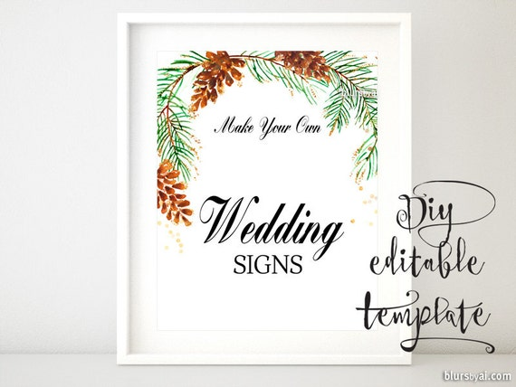 8x10 diy printable sign template for word make your etsy