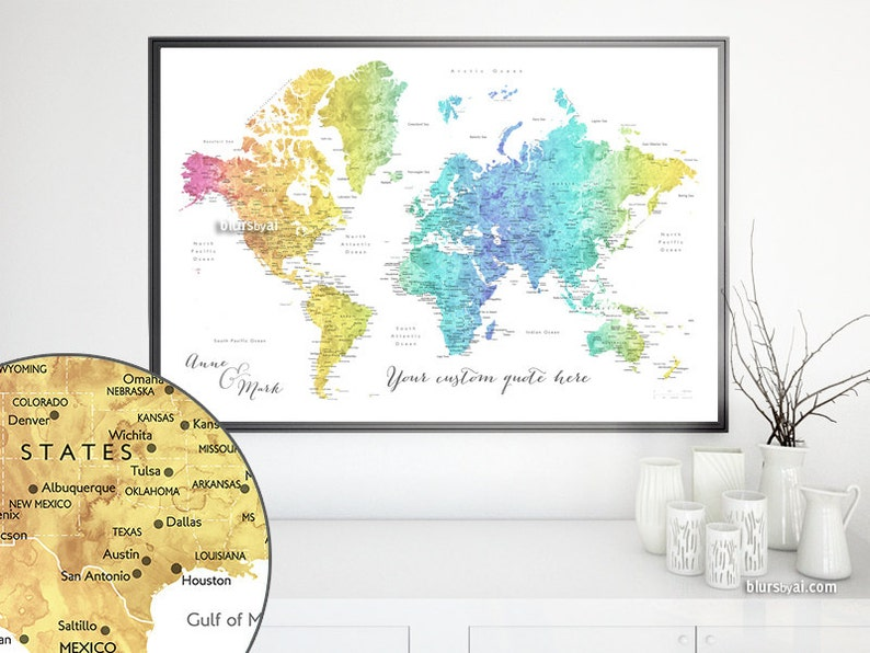 Custom quote - PRINTABLE world map with cities, gradient rainbow watercolor  world map, custom map, dorm decor. Map141 100 - Digital download