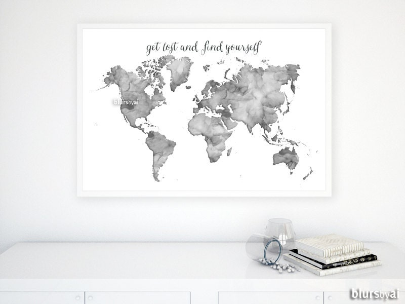 Black And White World Map Framed.36x24 Black And White Watercolor World Map Printable Etsy