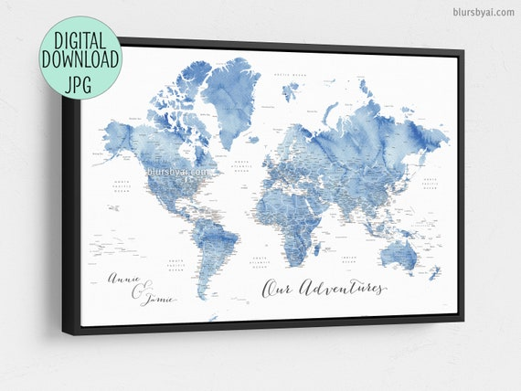 Custom quote - PRINTABLE world map with state capitals, cities. Soft blue  watercolor world map. Boyfriend gift. Anniversary gift, MAP201 009