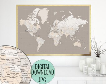 highly detailed map 60x40 printable world map with cities capitals countries