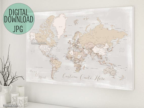 World map push pin PRINTABLE, World Map with cities, anniversary ...
