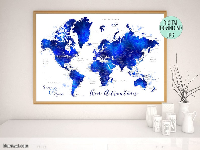 Printable custom world map with cities countries and states | Etsy