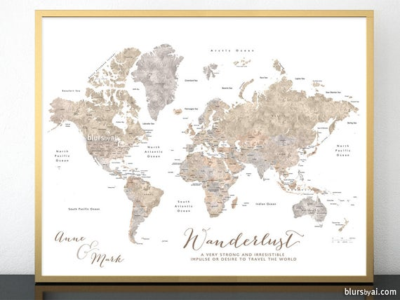 Current World Map Of Countries.Custom World Map Printable World Map With Countries States Etsy