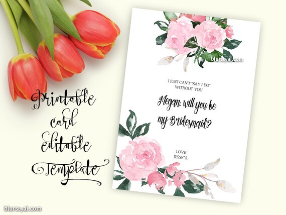 Printable TEMPLATE will you be my bridesmaid card will you | Etsy