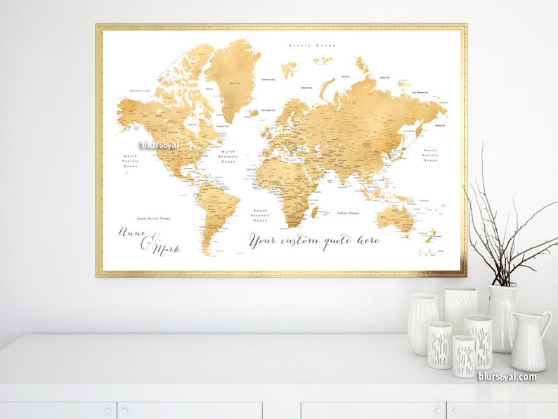 Printable World Map with cities, Custom couple map, travel lover gift,  newlyweds gift, Custom quote, gold foil world map. Map141 043