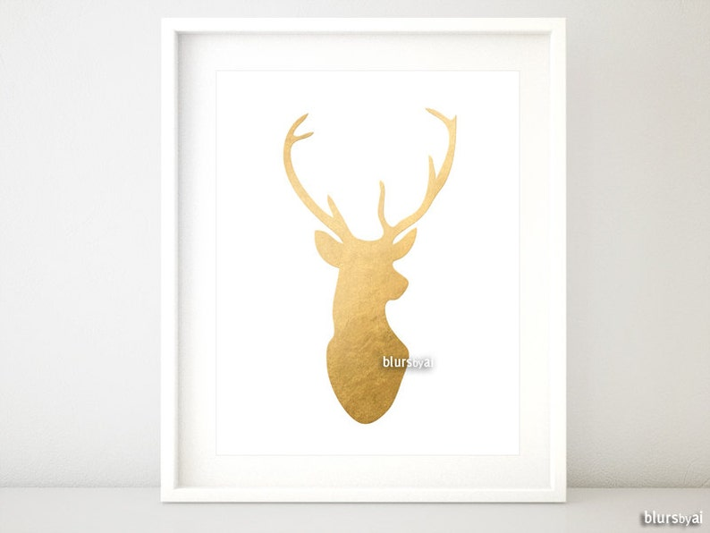 image relating to Silhouette Printable Gold Foil named Gold deer silhouette wall artwork, phony gold foil deer brain, fake gold foil deer print, gold printable poster, gold silhouette artwork -ffp006