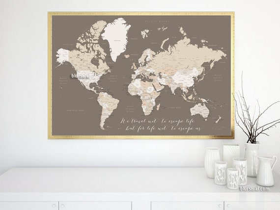 36x24 Printable world map with capitals and cities, inspirational print,  travel wall art \