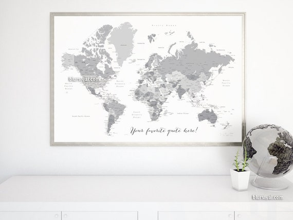 Custom quote - PRINTABLE world map with countries, capitals, cities, US  states... Grayscale map, Gift for him. Premade color map Map141 047