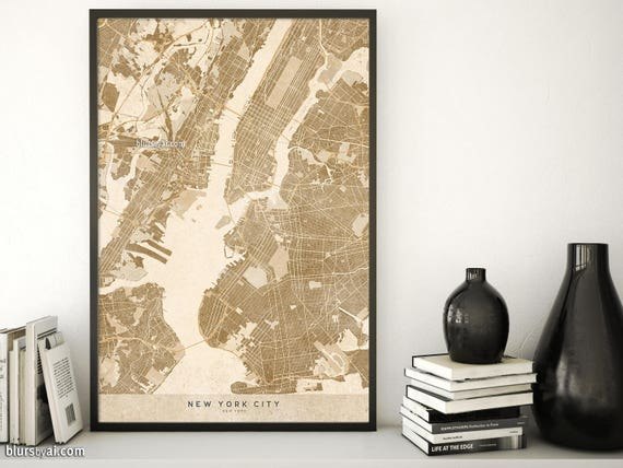 Printable New York map digital download New York wall art | Etsy