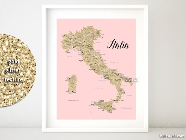 image relating to Printable Map of Italy called 16x20 Printable map of Italy, Italy map with metropolitan areas, Italia map, gold glitter Italy map, nursery map, blush crimson and gold map - map054 012