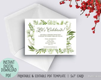Printable holiday party invitation pdf TEMPLATE, Christmas invitation template, editable pdf template, greenery invitation, watercolor C045