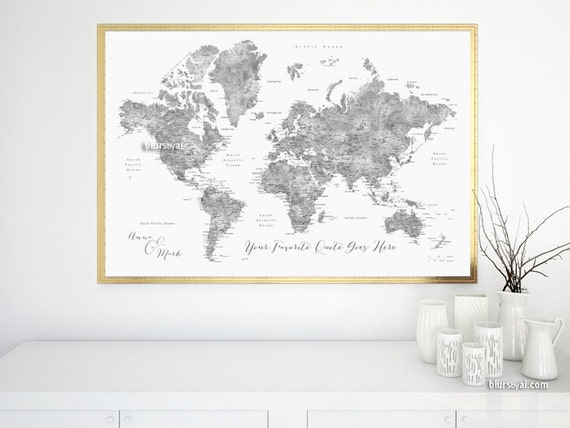 Custom quote - PRINTABLE world map with cities, capitals, countries US  states, grayscale watercolor world map. Premade color map Map141 056