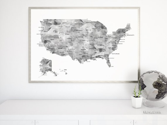 36x24 Map Black And White Watercolor Usa Map Printable Etsy