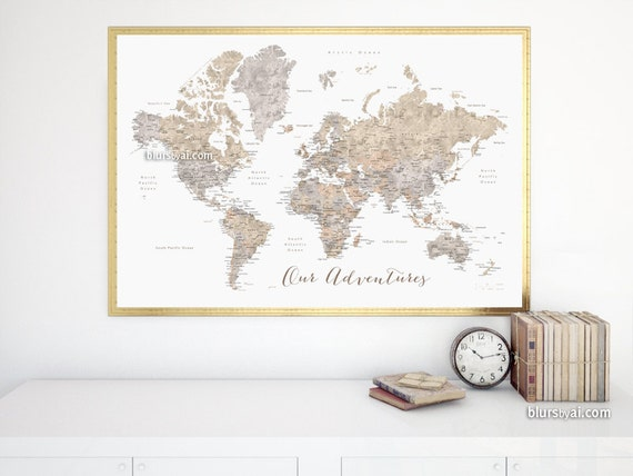 36x24 Printable world map with cities & capitals diy   Etsy