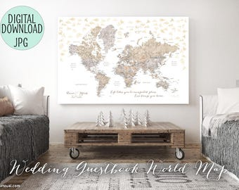 PRINTABLE Wedding guestbook map, wedding guest book world map, unique guestbook ideas, personalized, travel theme wedding map, map141 082