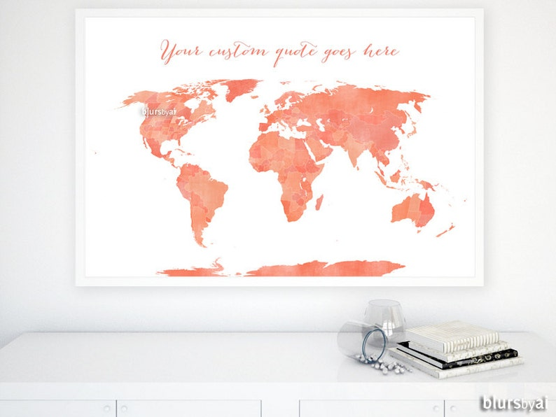 Custom quote PRINTABLE world map with US states and Canadian | Etsy