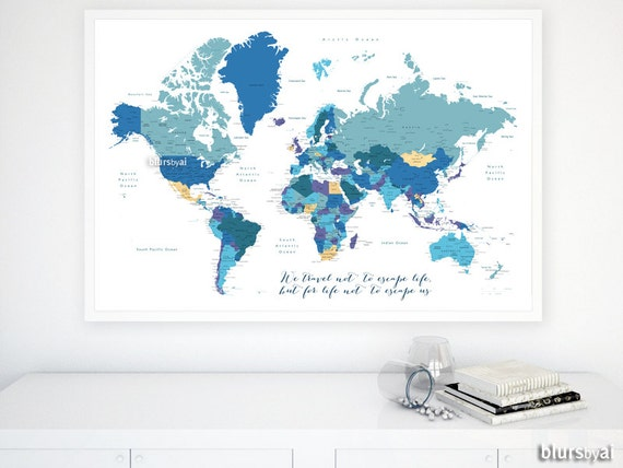 Custom quote - PRINTABLE world map with countries, capitals, main cities,  US states, Canadian provinces. Premade color map Map141 004