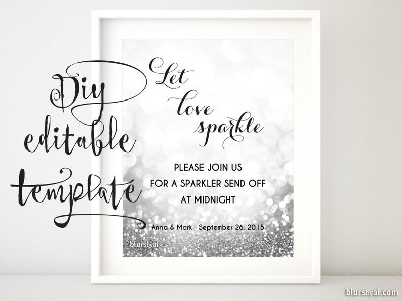 Printable Sparkler Sign Template Sparklers Send Off Sign Let Etsy