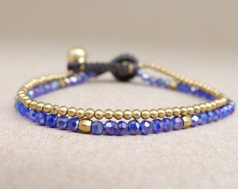 Purple Crystal and Mini Brass Chains Bracelet